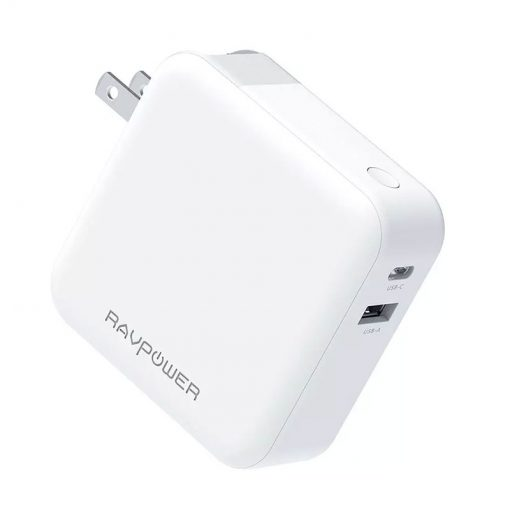 RAVPower 18W 2-Port 5000mAh 2-in-1 Wall Charger & Portable Charger RP-PB101 White