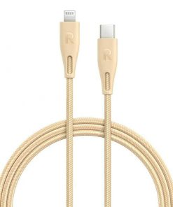 RAVPower Nylon Braided Type-C to Lightning Cable RP-CB1003GLD (0.3m/1ft) - Gold