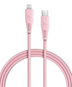 RAVPower Nylon Braided Type-C to Lightning Cable RP-CB1005PNK (2m/6.6ft) - Pink
