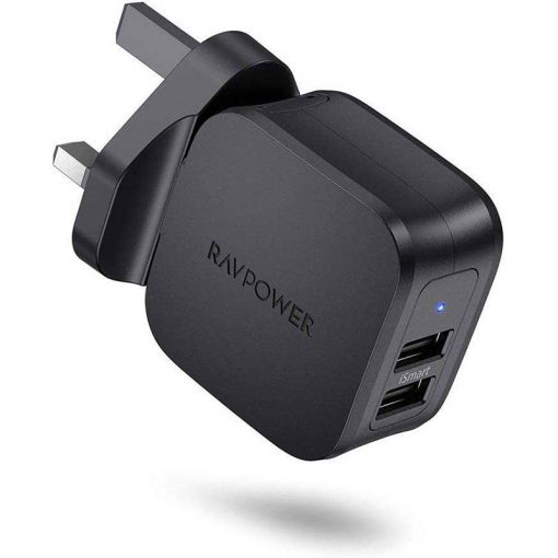 RAVPower Prime 17W 2-Port USB Wall Charger UK RP-PC121 Black
